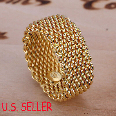 Designer Inspired 18K Yellow Gold Filled 10mm wide Flexible Mesh Band Ring B241 - Mesh Yellow Ring