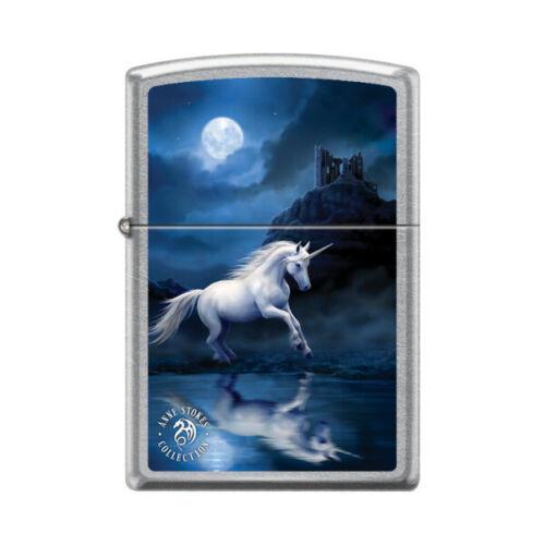 """Zippo 0896,   """"Anne Stokes-Unicorn"""" Street Chrome Lighter"""