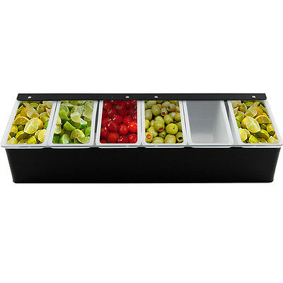 Bar Garnish Tray - Black - 6 Compartments - Home Bar Pub Restaurant Drink Mix