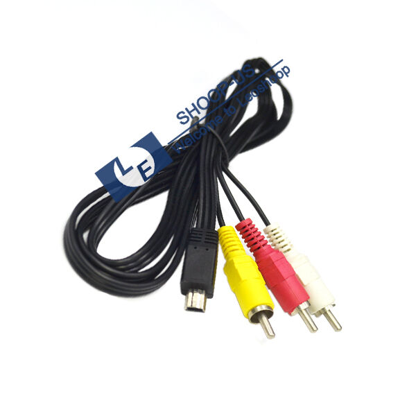 New USB 10 Pin to 3 RCA Male Video Audio Cable for Canon EOS 60D 7D AVC-DC400ST