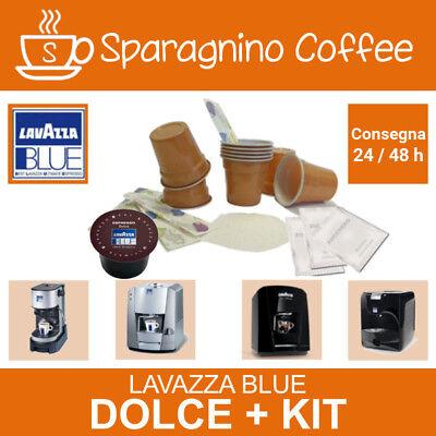 600 cialde caffè LAVAZZA BLUE Espresso DOLCE+ 6 KIT Zucchero Paletta Bicchieri