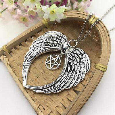 Large Double Guardian Angel Wing Necklace Charm Star Pentacle Pentagram Penda - Guardian Angel Necklace