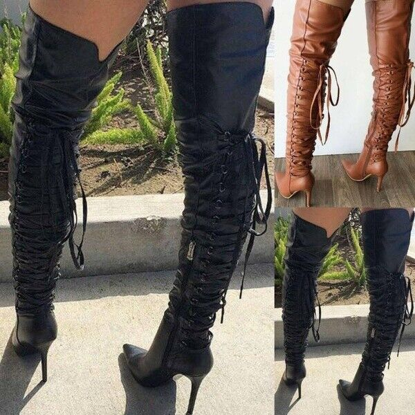 Women Sexy High Heel Boots Thigh Boots Lace Up Pointed Toe B