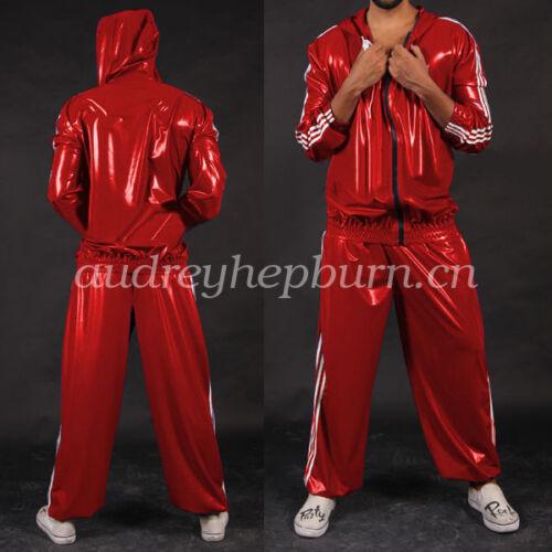 Latex Rubber Gummi Kostüm Men Handsame Hooded Jacket & Pants Suit Size Xxs-xxl 0