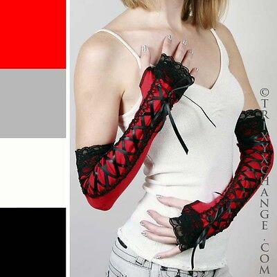 Long Black Lace Up Gloves Corset Fingerless Red Steampunk Victorian Vampire M26