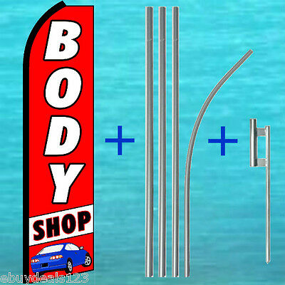 Body Shop Swooper Flag Pole Mount Kit Advertising Sign Feather Bow Banner 1509