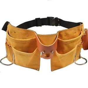 11 Pocket Leather Tool Belt W Quick Release Buckle Carpenter Construction Pouch