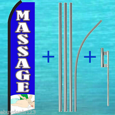 Massage Blue Swooper Flag Pole Mount Kit Tall Flutter Feather Banner Sign