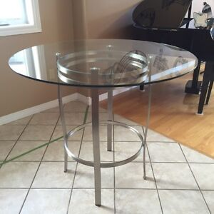 Stainless and black dining set