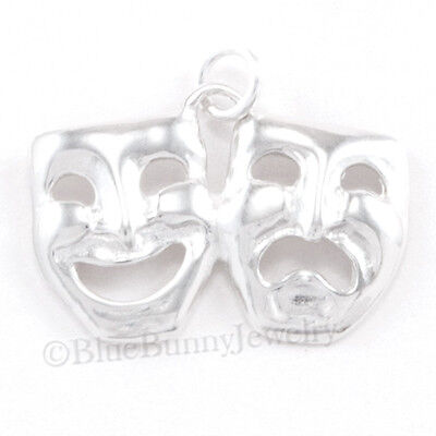 COMEDY TRAGEDY Charm Mask THEATER pendant THESPIAN Drama Sterling Silver -