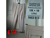 Marks & Spencer Beige Trousers Size 18 - Long