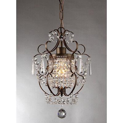 Rustic Crystal Chandelier Vintage Lighting Ceiling Mount Hanging Light Fixture