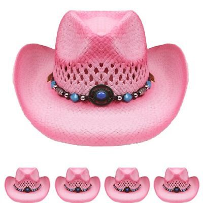 COWBOY KIDS HAT Paper Straw SMALL WESTERN RODEO Cowboy/Cowgirl Pink HIGH QUALITY - Pink Straw Cowboy Hat