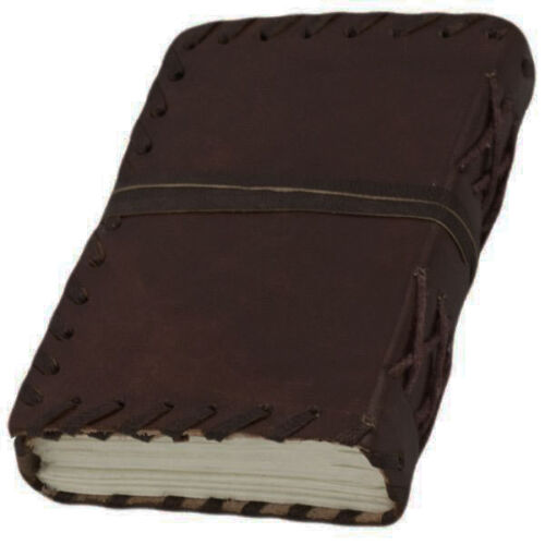 """NEW Brown Leather Journal w/ Cord 5"""" Small Blank Book Sketchbook Handmade!"""