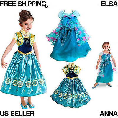 Elsa Anna Disney Inspired FROZEN FEVER Princess costume dress up Play FREE SHIP (Elsa & Anna Costumes)
