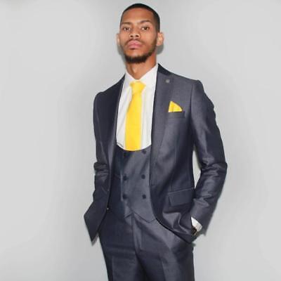 Cheap Mens Suits Ronnie Grey Blue 2/3 Piece Wool Slim Fit Suit