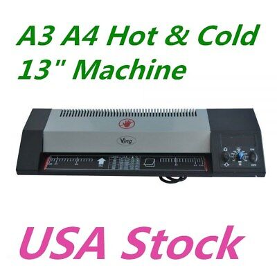 Us - Steel Thermal Laminator A3 A4 Hot Cold 13 Machine Roller Pouch 110v