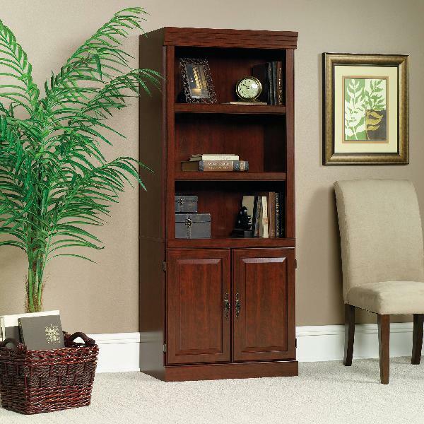 5 shelf bookcase doors bookshelf book case