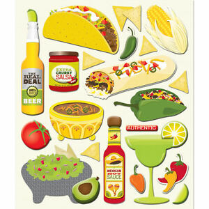 K&COMPANY STICKER MEDLEY MEXICAN FOOD COOKING DRINKS TRAVEL SCRAPBOOK STICKERS