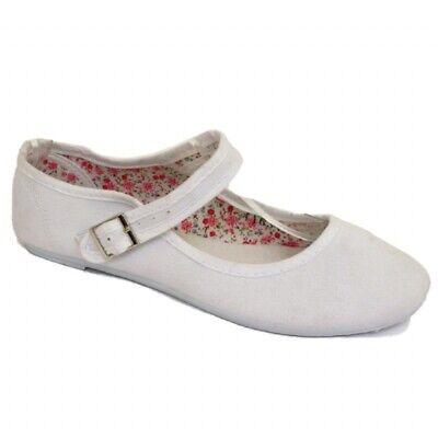 Ladies White STRAP Flat SOLE Buckle Sneakers Pumps Plimsoll Trainers Shoe UK 4-8 ()