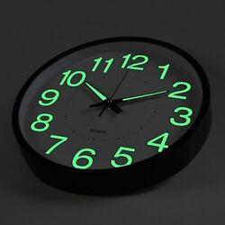 12 12 Inch Luminous Wall Clock Glow In The Dark Silent Quartz Indoor/Outdoor