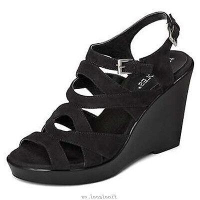 (AEROSOLES Coral Reef Black Faux Suede Wedge Sandals – Size 9)