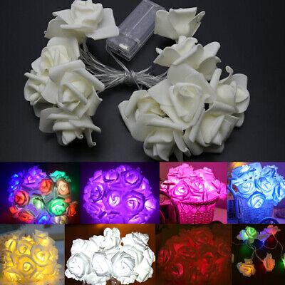 Led Flowers (20 LED Rose Flower String Light Fairy Wedding Party Waterproof Lamp Home)