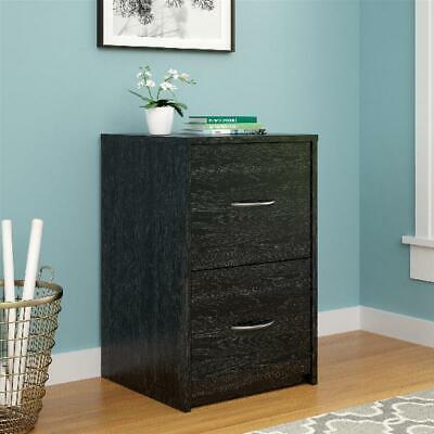 2 Drawer File Cabinet Home Office Document Organization Storage Den Black Oak
