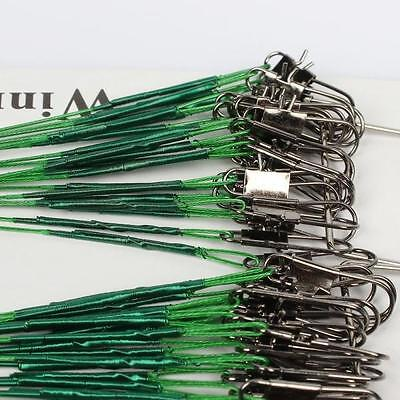 100 pcs Fishing Trace Lures Leader Steel Wire Spinner 16/18/22/24/28cm Green