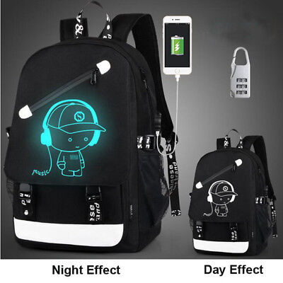Night Luminous Backpack Boys Girls USB Bookbag Cool School Bag Shoulder Bags