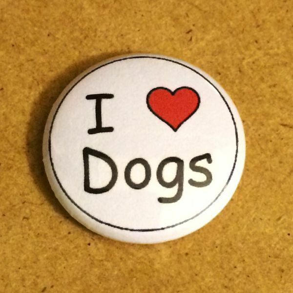 1 Inch I Heart Love Dogs Button Pin Pinback