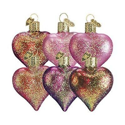 Old World Christmas 30003 Glass Blown Heart Assortment Ornament