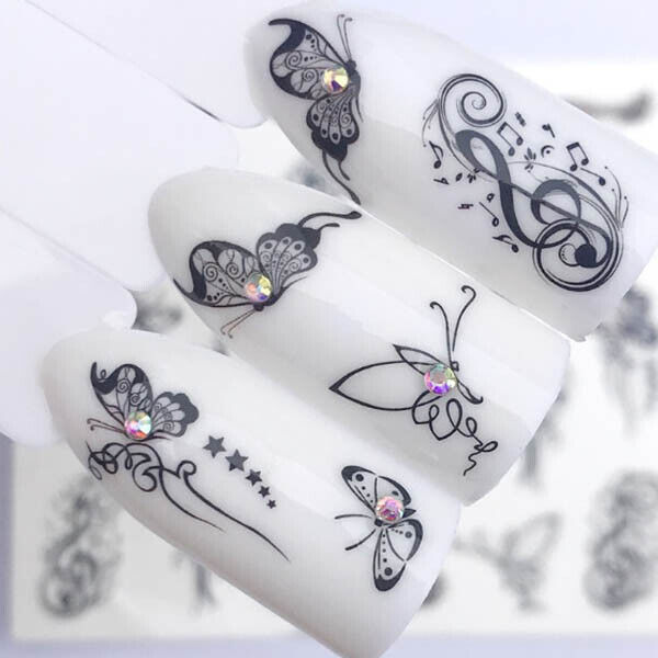 Nail Art Nagel Sticker * Tattoo Nageldesign * Music Note Schmetterlinge 3090