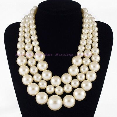 Fashion White Pearl Chain Chunky Choker Statement Pendant Bib Necklace Jewelry