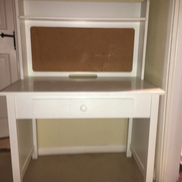 Childs White Desk With Draw And Cork Pin Board In Hutton Essex