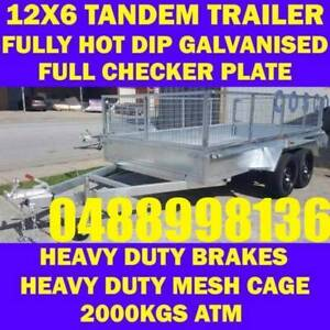 12x6 galvanised tandem trailer box trailer with cage 70x50 chassis sa