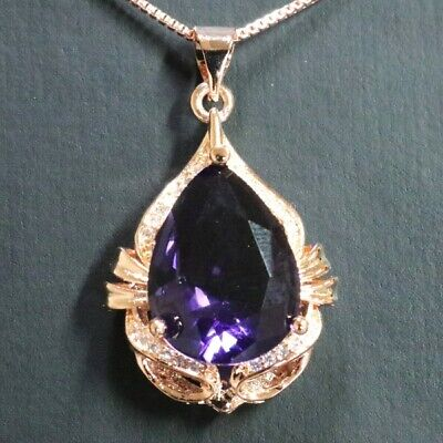 8Ct Round Purple Amethyst Pear Pendant Necklace Women Jewelry Rose Gold -