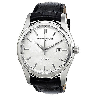 Frederique Constant Index Automatic Silver Dial Black Leather Mens Watch 303S6B6