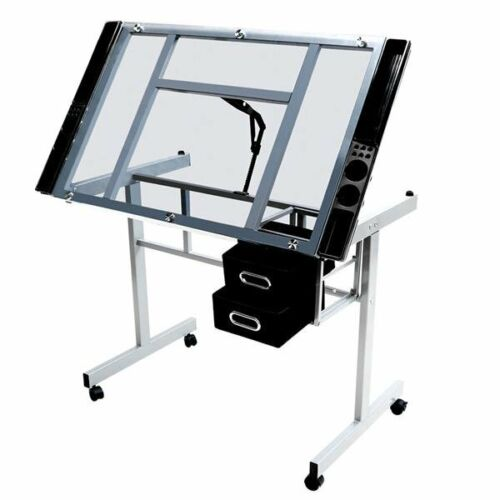 Adjustable Drafting Drawing Desk Table Tempered Glass Top Rolling Wheels