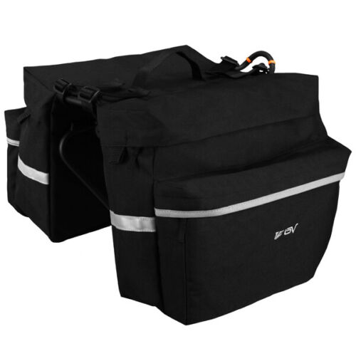 BV Bike Bag Panniers Rear Carrier Rack Nylon Bag Seat Storage Double Pouch Black