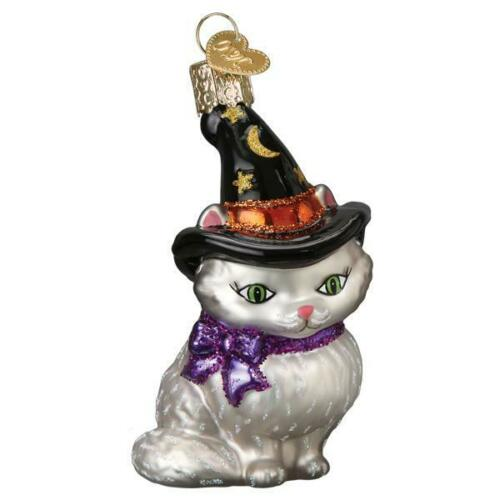 Halloween Witch Kitten Glass Ornament Old World Christmas New
