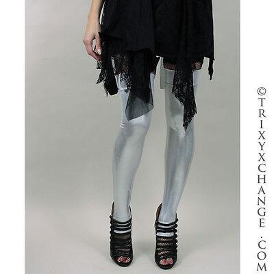 Silver Metallic Leg Warmers Costume Leggings Covers UV Wet Look Burning Club Man