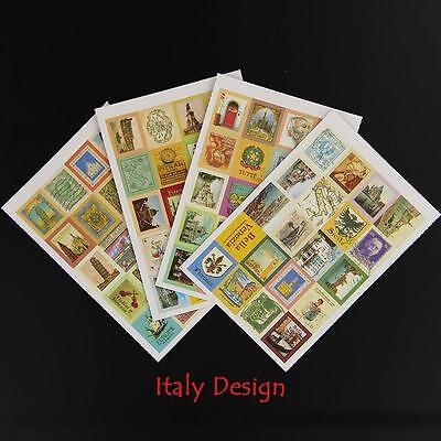 4 Sheets of Vintage Italy sticker stamps for Crafts, Scrapbooking etc