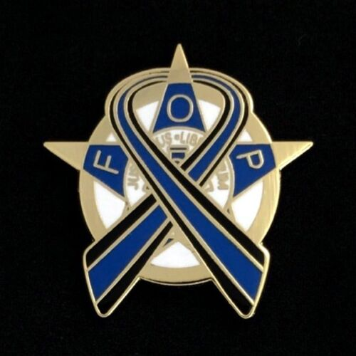"""Fraternal Order of Police """"Thin Blue Line"""" Lapel Pin - Gold (FOP-BLG)"""