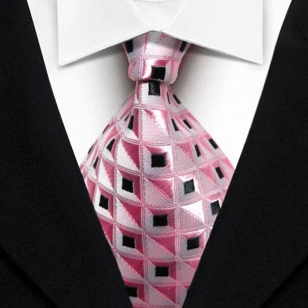 New Classic contrôles Gray Black Jacquard Tissé 100/% Soie Hommes Cravate Cravate