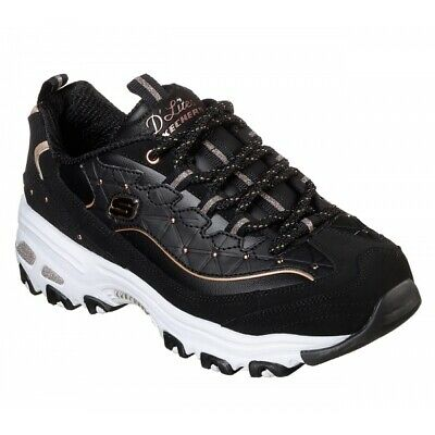 d25eb74e5992 Skechers D LITES GLAMOUR FEELS Ladies Retro Sports Trainers Black Rose Gold
