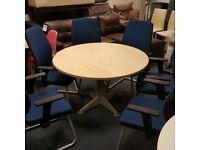 Circular Meeting Table with Six Chairs