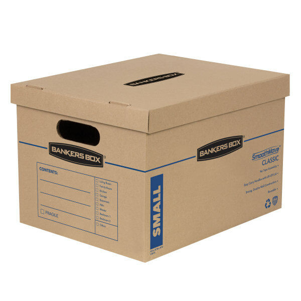 "Bankers Box SmoothMove Classic Moving Boxes, 15"" x 12"" x 10"", Kraft, Pack Of 5"
