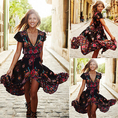 Women Long Boho Maxi Evening Party Dress Chiffon Dress Summer Beach Dresses Sexy