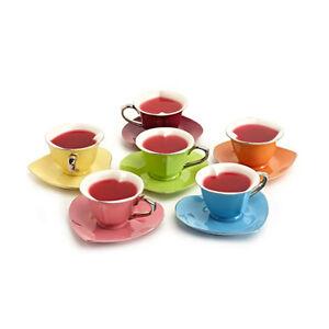 Yedi Heart Shaped Tea Cup Saucer Set 6 Inside Out Platinum